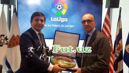 PFL bosh direktori Omon G'ofurov Ispaniyada La Liga bosh direktori bilan uchrashdi