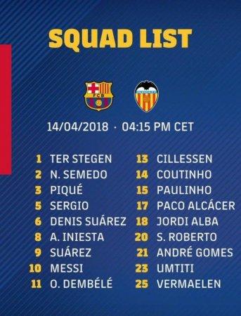 """""""Barselona""""ning """"Valensiya"""" bilan o'yin uchun qaydnomasi"""