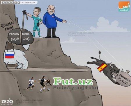 Ispaniya - Rossiya uchrashuviga bag'ishlangan karikatura