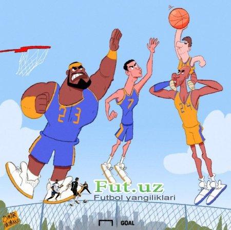 Omar Momanidan yangi karikatura: Basketbolchi Messi va Ronaldu